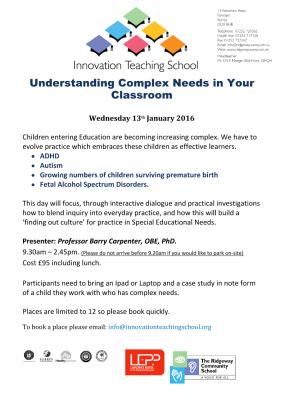 Understanding Complex Needs in your classroom