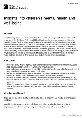 Insights into children's mental health - Office for National Statisitcs