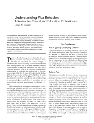 Understanding Pica behavior