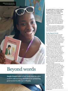 Books Beyond Words - Thumbnail article image Annie Grant looks at how book clubs for older readers with learning disabilities are promoting good mental health and wellbeing