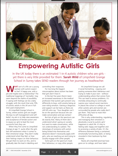 Empowering Autistic Girls Article Thumbnail