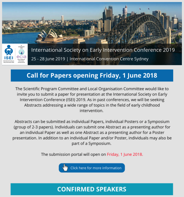 International Society on Early Intervention Conference 2019