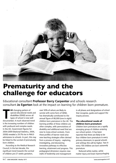 Prematurity and the challenge for educators
