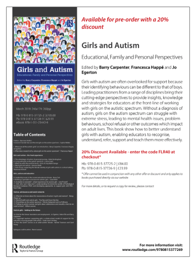 Autism And Girls Book Flyer
