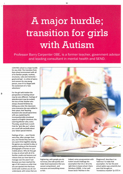 A Major Hurdle: Transition for girls with Autism - article