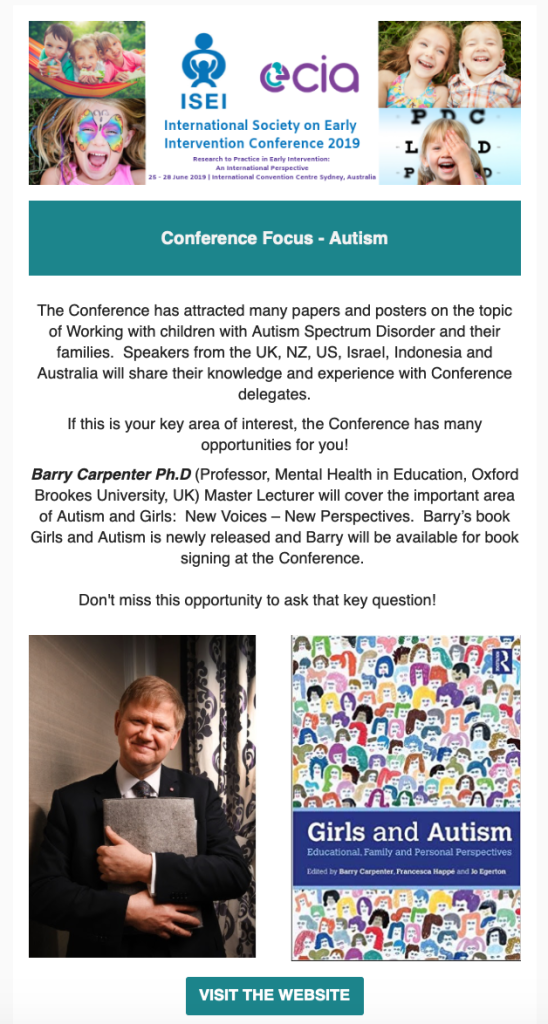 ISEI 2019 Conference Focus - Autism Advert