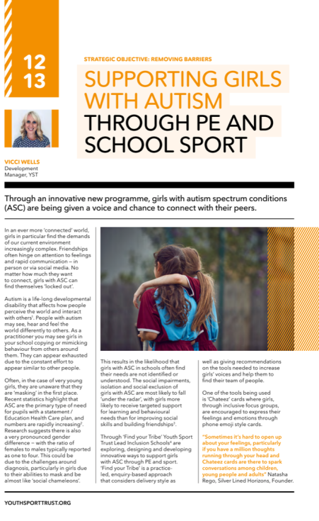 SUPPORTING GIRLS WITH AUTISM THROUGH PE AND SCHOOL SPORT ARTICLE