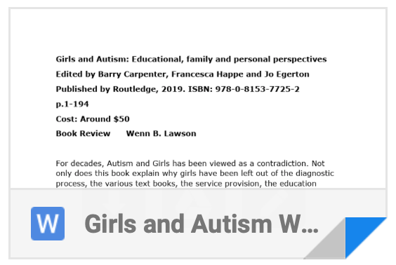 Girls & Autism Book Review - Word Doc Download link