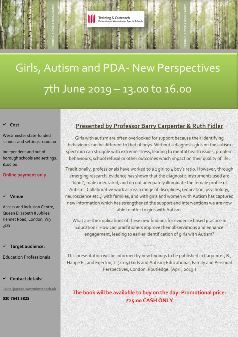 Girls & Autism Event Flyer image - link to download in full