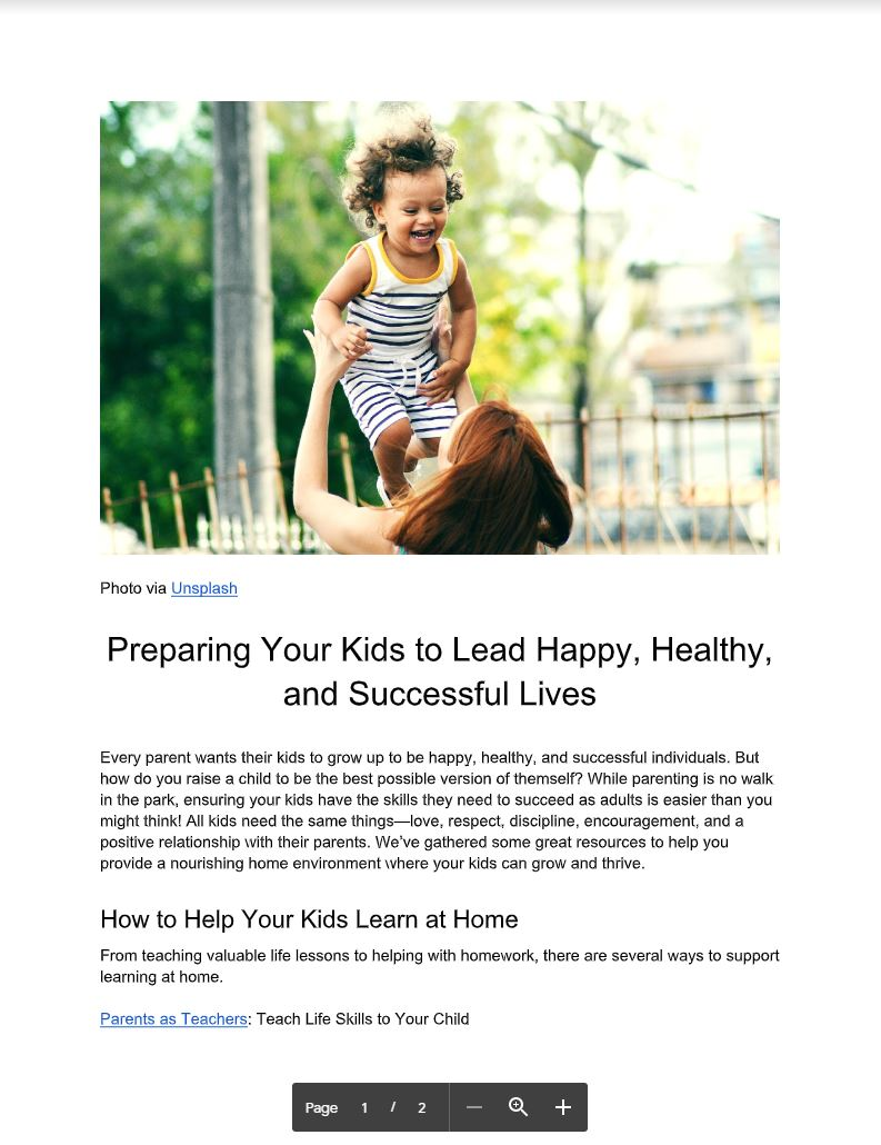 Preparing Your Kids to Lead Happy, Healthy, and Successful Lives by Kristen Louis - Article